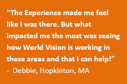 Guests experience first hand what it's like to live in World Vision sponsorship regions such as South America, Africa, and South Asia through audio and visual aides in the World Vision Experience mobile exhibit at Faith Community Church in Hopkinton, MA.